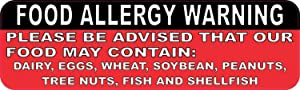 StickerTalk Food Allergy Warning Vinyl Sticker, 10 inches by 3 inches