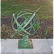 """14""""Diameter Iron Armillary Sphere/Sundial Rustic Antique Green"""