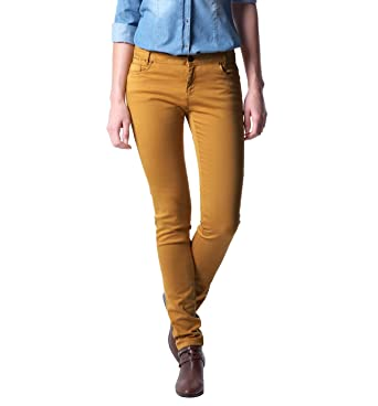 00e0ff3145e0 Promod Pantalon slim en toile femme Safran 38  Amazon.fr  Vêtements ...