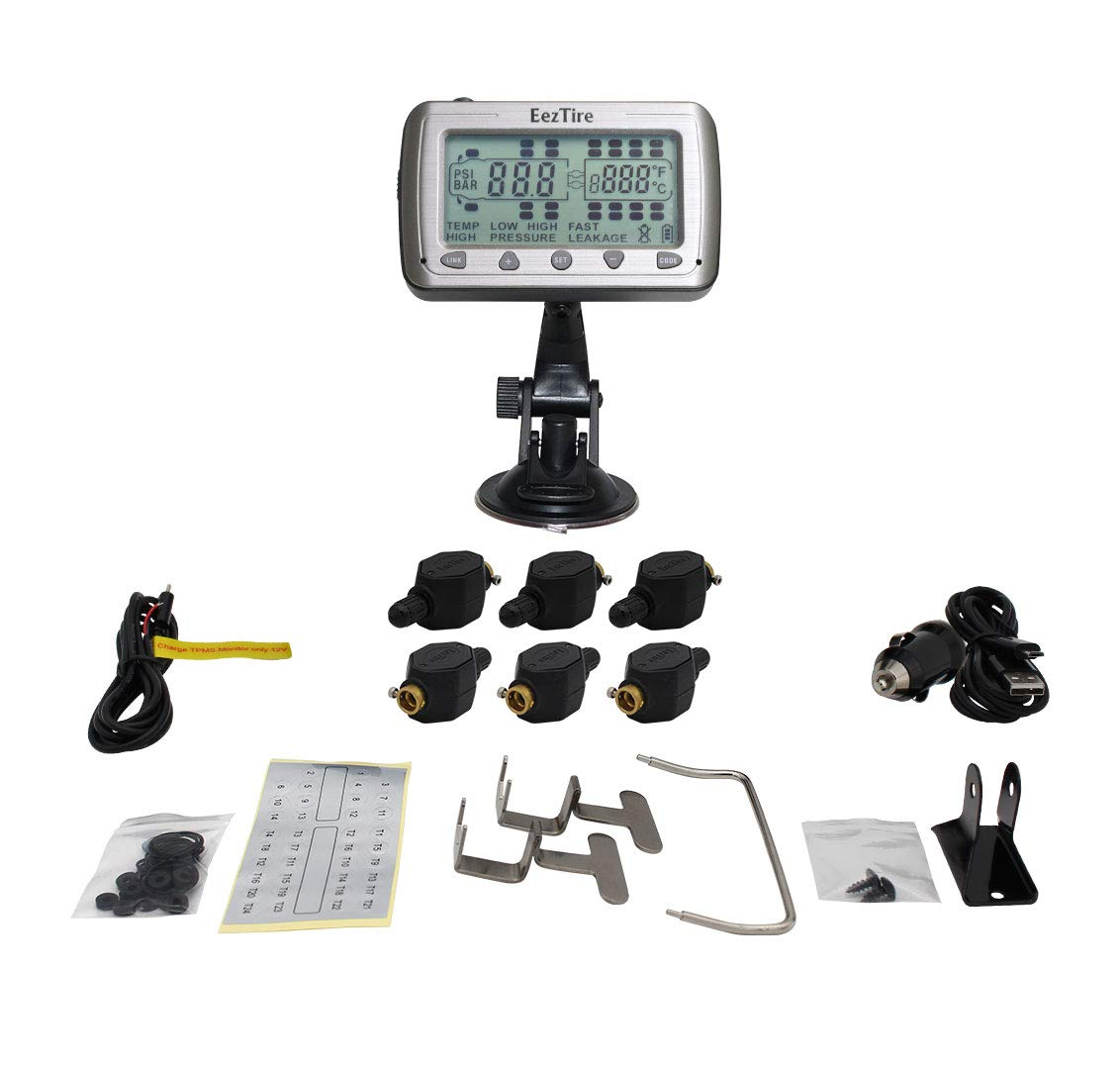 EEZTire-TPMS Real Time/24x7 Tire Pressure Monitoring System (TPMS6FT) - 6  Flow-Through Sensors, incl  3-Year Warranty