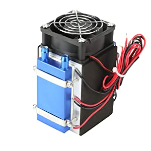 Thermoelectric Peltier Cooling Unit, Semiconductor Cooling System Kit DC 12V Large Sized Refrigerator Radiator Heat Transfer Module DIY Refrigerator Cooler Set with Fan (4 Chip Cooler)
