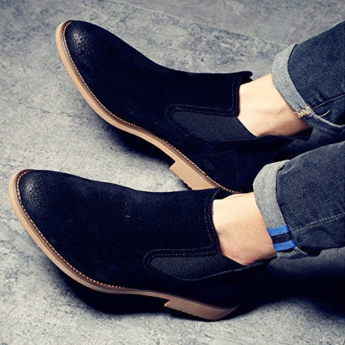 Easy Go Shopping Leather Shoes, Men's Leather Shoes Casual Slip-on Shoes Dual Flexible Plate Genuine Leather Low Top Outsole Boots Black
