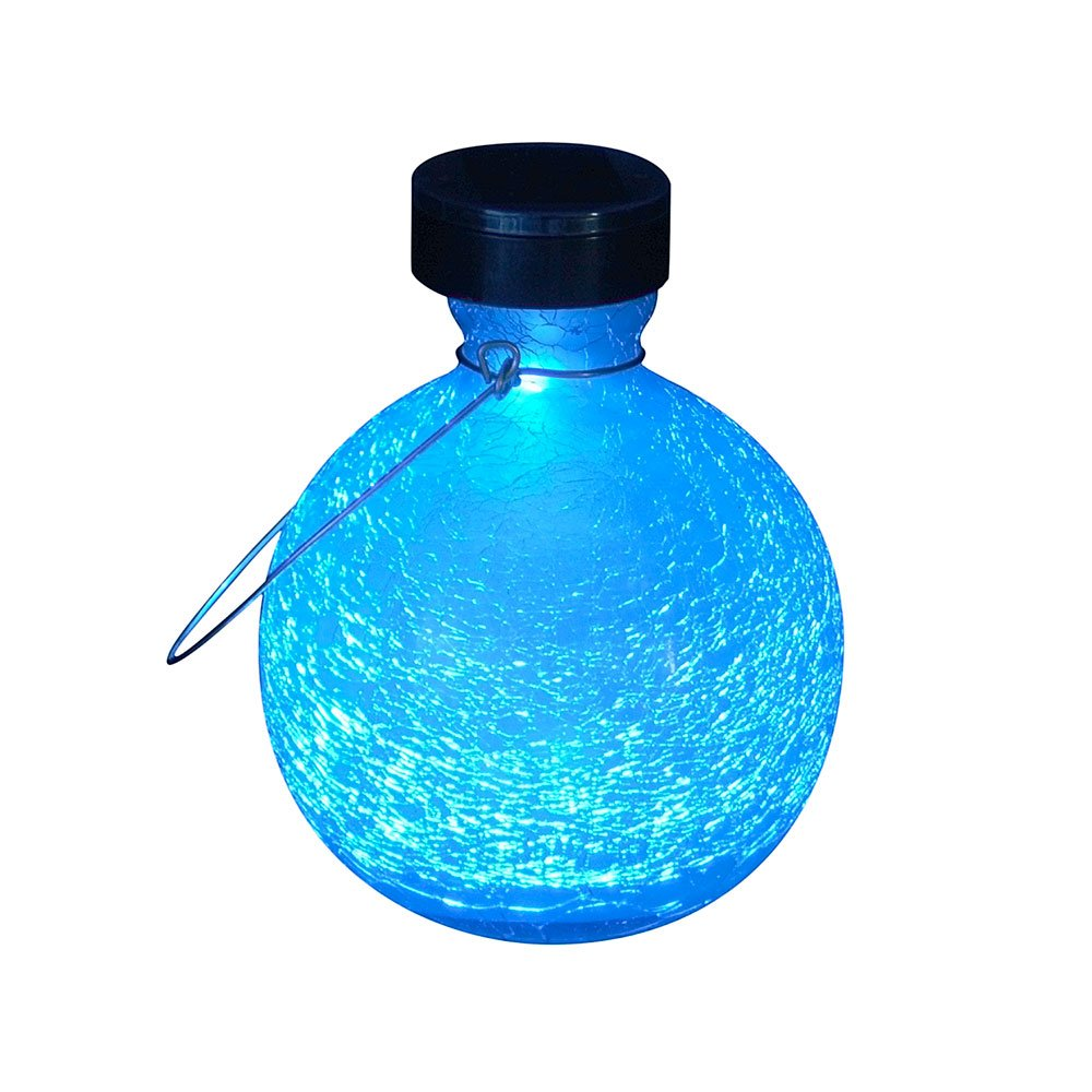 Achla Designs SL-SV03T Solar Powered Round Glass Hanging Lantern Decorative Outdoor Light, Teal