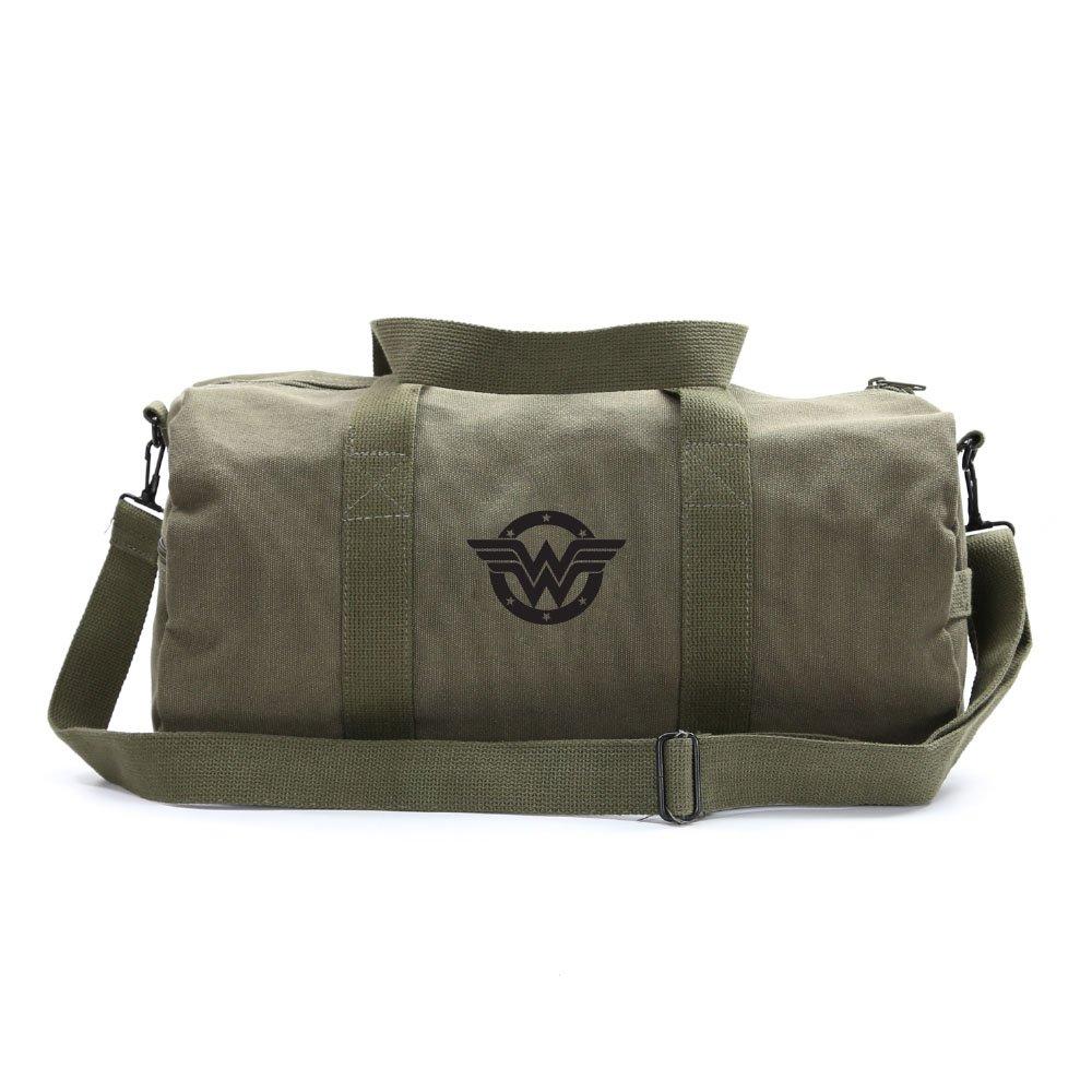 Wonder Woman Logo Sport Heavyweight Canvas Duffel Bag in Olive & Black, Medium
