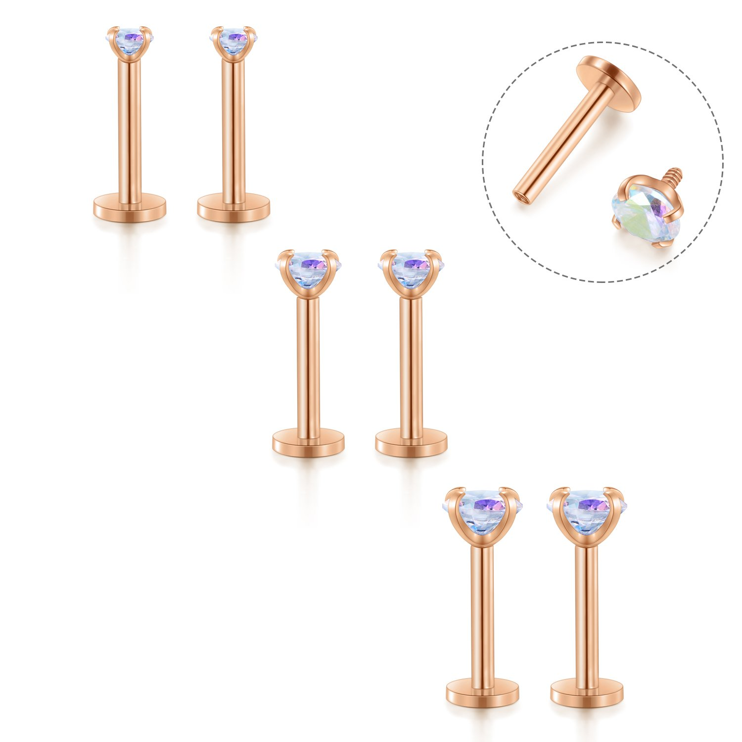 Fectas 16G Cartilage Earring Stud Forward Helix Earrings Internal Threaded Labret Lip Medusa Monroe Piercing Ring Rose Gold 2 Pairs
