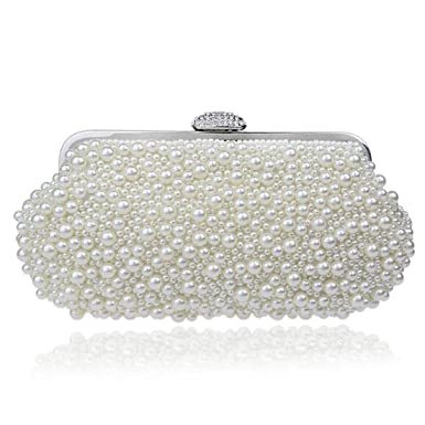 EPLAZA Women Pearl Beaded Evening Clutch Handbags Wedding Party Bags Purse  (beige) a17e1f6660e7