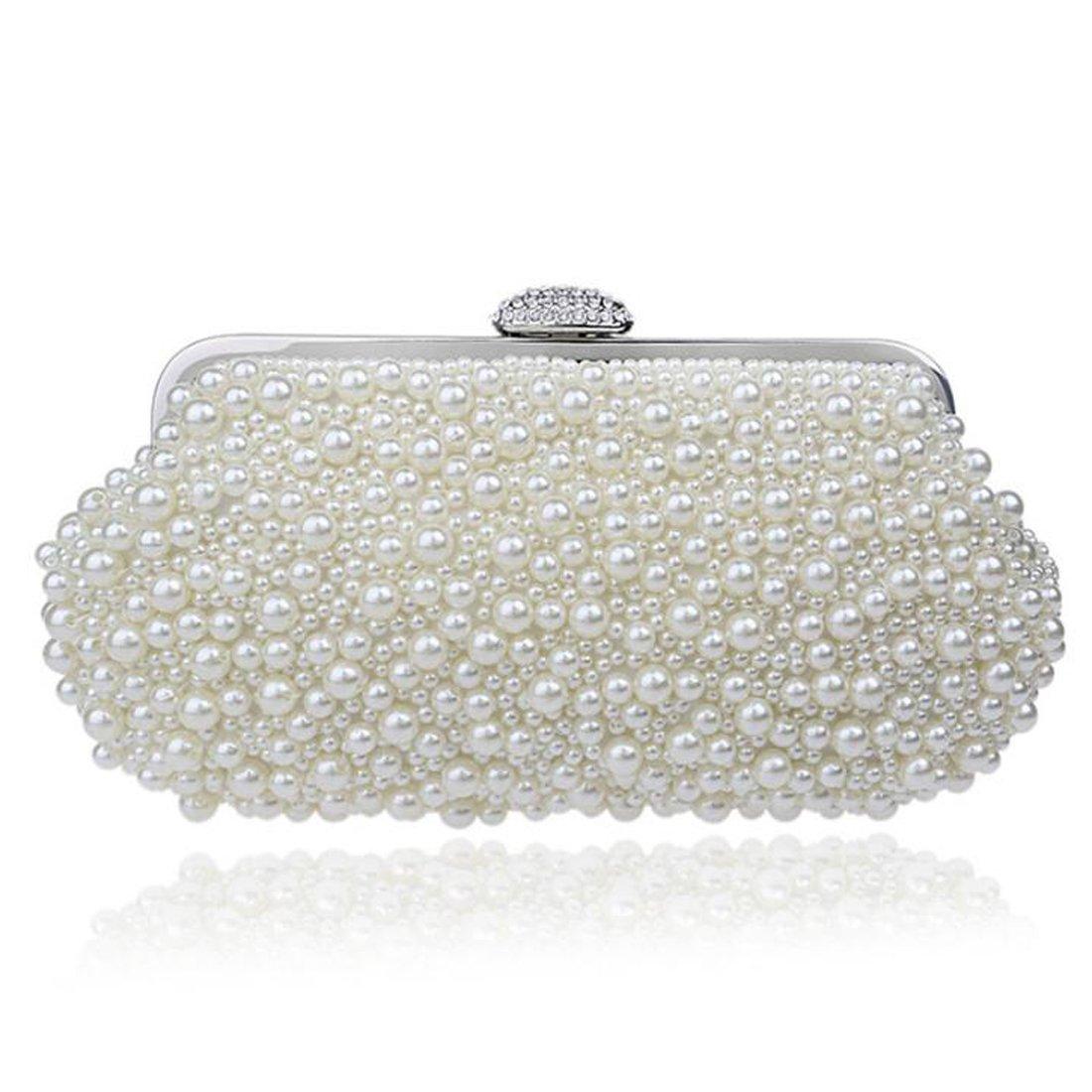 EPLAZA Women Pearl Beaded Evening Clutch Handbags Wedding Party Bags Purse (beige)