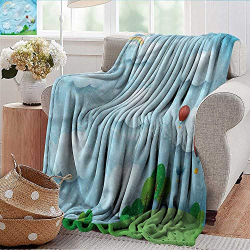 Xaviera Doherty Soft Cozy Throw Blanket Kids,Balloons Clouds Stars Hill Super Soft and Warm,Durable Throw Blanket 60