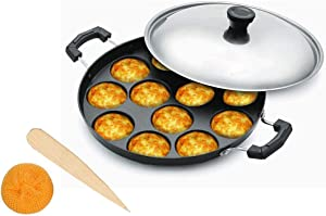 Whopper Non-Stick Cookware Appam Patra with Lid and Strong Handle (12 Cavity) for Making Litti, Paniyaram, Gunta Ponganalu, Small Idli, Paddu Maker, Appa Kara