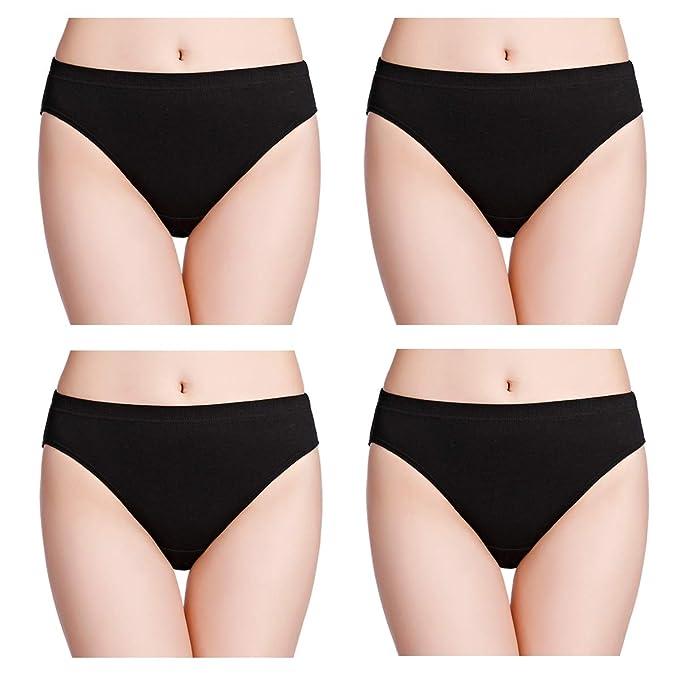 8bce240d329b6 wirarpa Women s Soft 100 Cotton Underwear Panties Black Ladies High Cut  Briefs 4 Pack Size 5