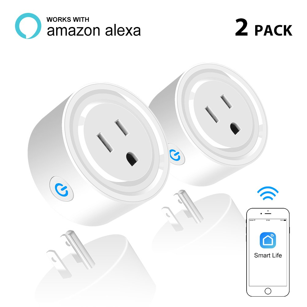Megulla Smart Plug, Compatible with Alexa, Wi-Fi Accessible Power Outlet, No Hub Needed, Control with App on Phone, Pack of 2