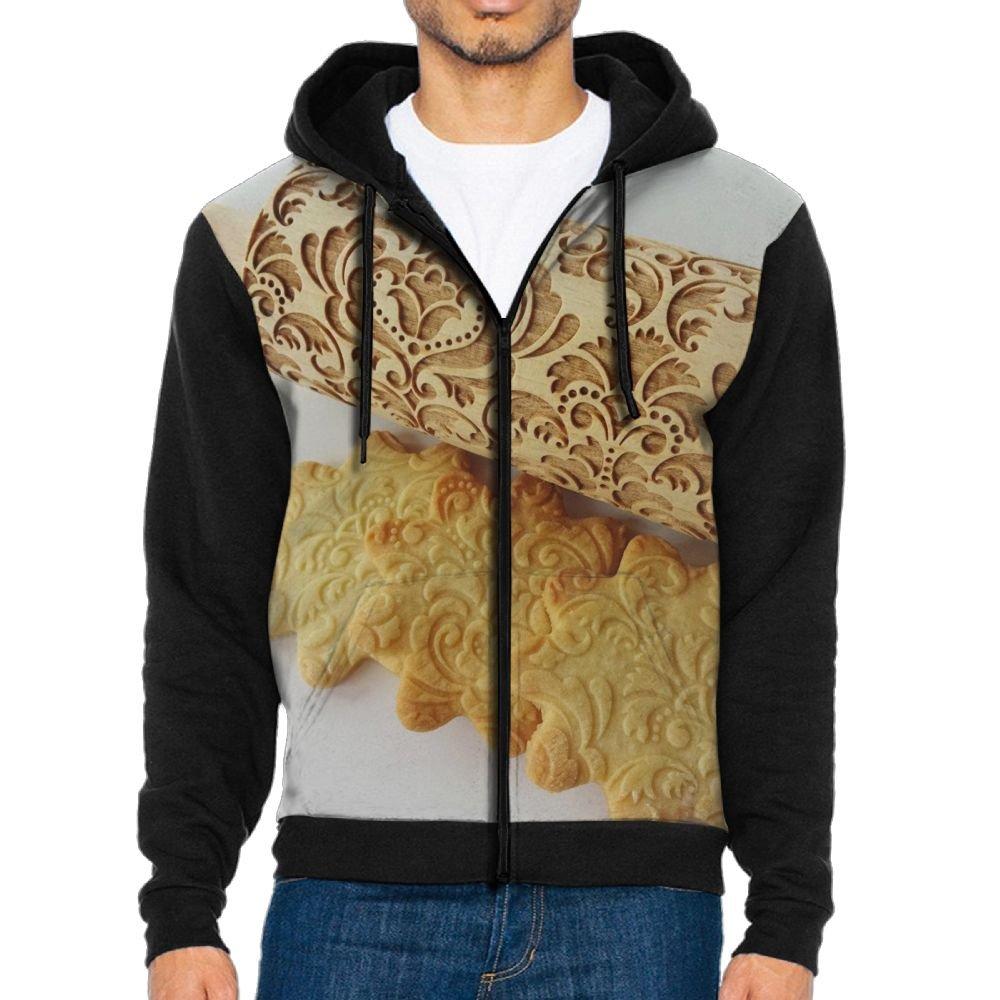 Fengyaojianzhu Cake Bread Cookie Design Men Black Sports Long Sleeve Hoodies Sweatshirts With Pocket