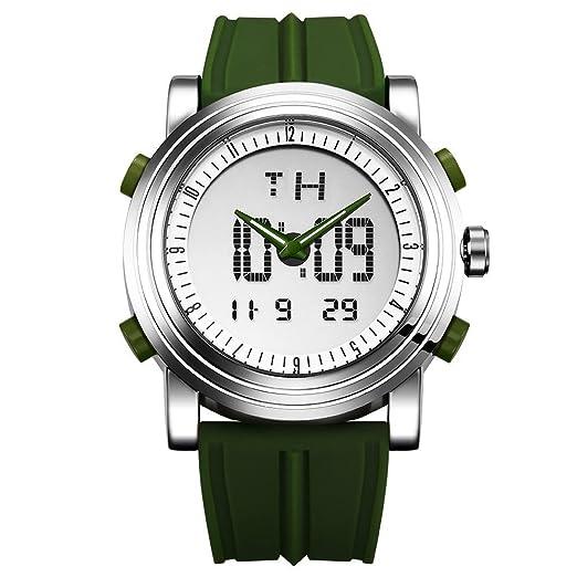 Sinobi para Hombre Reloj de Pulsera Deportivo Cuarzo electrónico Digital Reloj con Alarma Cronómetro Doble Movimiento Hombres de la muñeca Relojes s9368g: ...