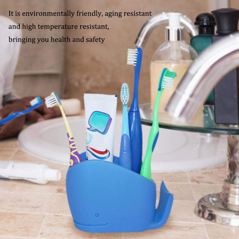 Ingeniously Children Toothbrush Holder Comb Whale Bathroom Storage Organizer Stand Rack Perfect for Large Powered Electric Spin Toothbrushes Tooth Powder Razor Toothpaste