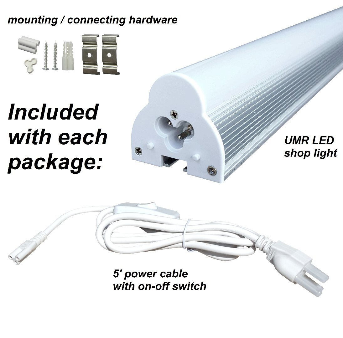 UMR Brightest LED Shop Light 2FT 10W Linkable to Every Length, Ultra Efficient 6500K Daylight Integrated Fixture for Garage, Ceiling, Kitchen, & Under Cabinet, Plug & Play Installation by UMR (Image #3)
