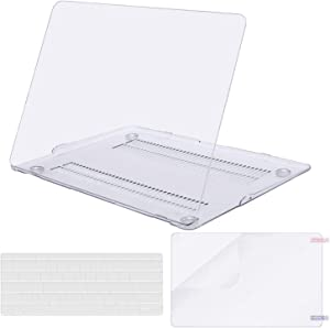 MOSISO Plastic Hard Shell Case & Keyboard Cover & Screen Protector Only Compatible with MacBook Air 13 inch (Models: A1369 & A1466, Older Version 2010-2017 Release), Crystal Clear