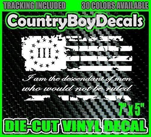 3/% Three Percenter FLAG I am the descendant Vinyl Decal Sticker Diesel Truck Car