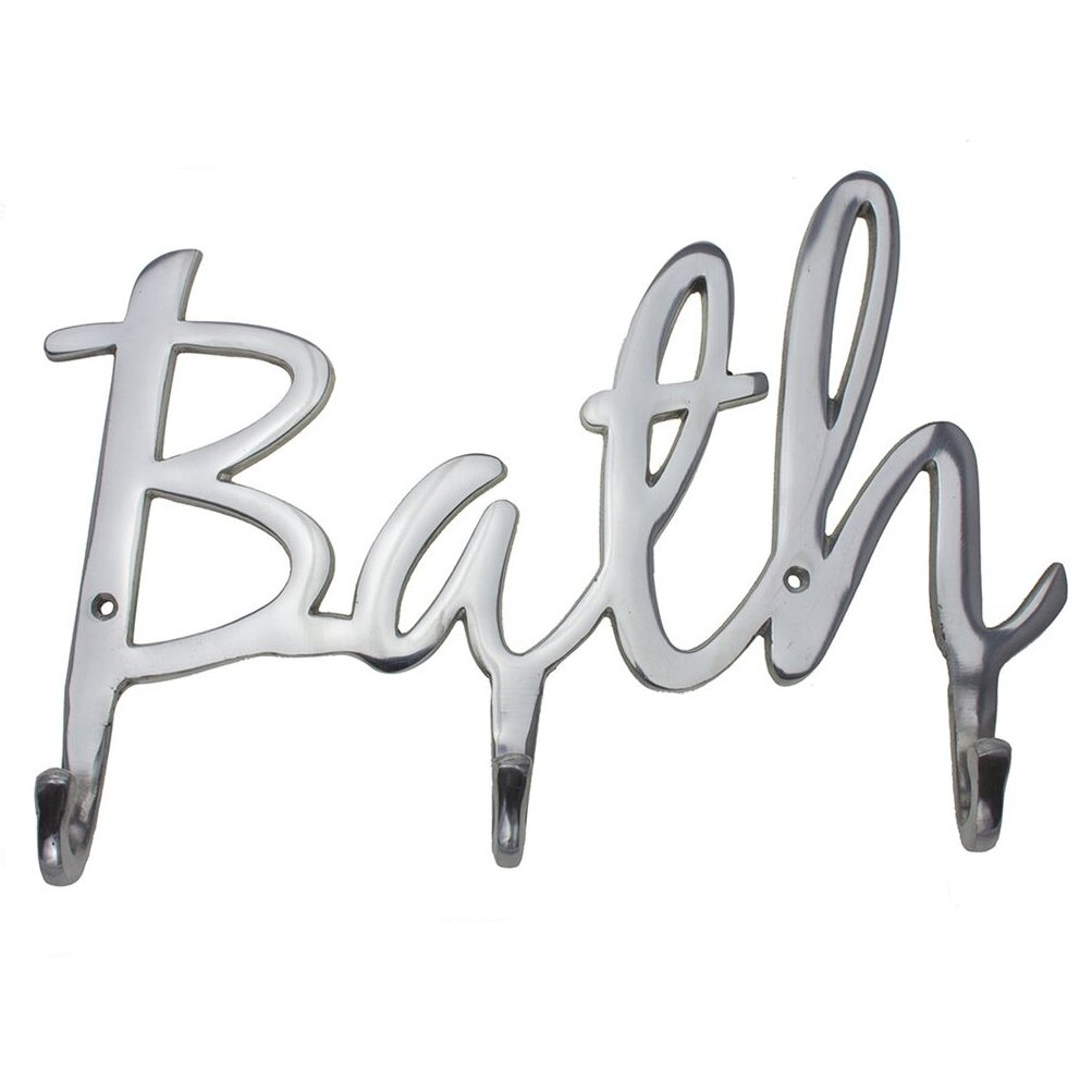 """Comfify Modern Style """"Bath"""" Wall Mount Towel Holder and Robe Hook Hand-Cast Aluminum Bathroom Hanger Decor w/ 3 Hooks for Towels, Robes, Clothing   Includes Screws and Anchors"""