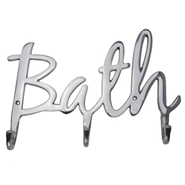"Comfify Modern Style ""Bath"" Wall Mount Towel Holder and Robe Hook Hand-Cast Aluminum Bathroom Hanger Decor w/ 3 Hooks for Towels, Robes, Clothing 