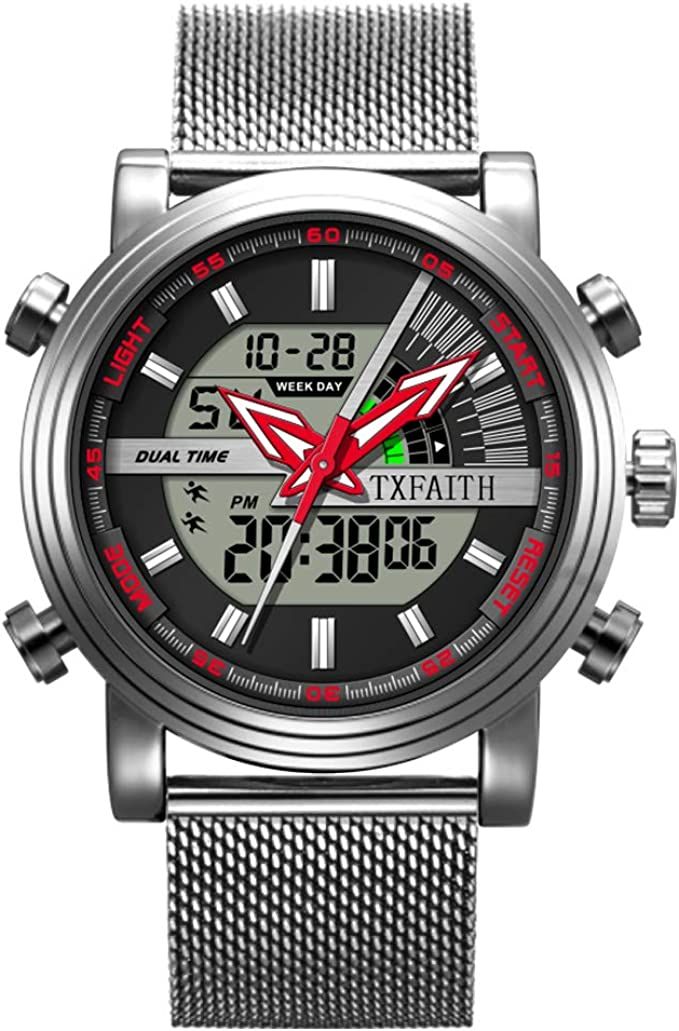 TXFAITH Creative Original Design Business Digital Watch for Men Sports Watch with Alarm Stopwatch Men's Watches Dual Time Watch (Silver&Black-Mesh Band)