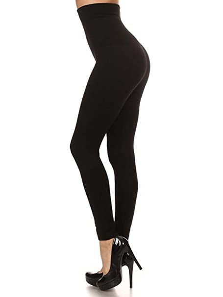 b664f74726ad7a Premium Women Thick High Waist Tummy Compression Slimming Leggings French  Terry Lining (Black, XS