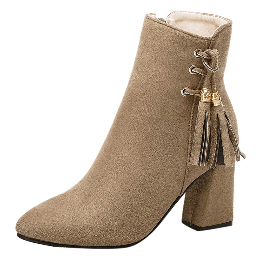 Clearance! Swiusd Women's Stiletto Boots Trendy Tassel Zip Closure Single Shoes Flock Leather High Square Heel Strap Buckle Booties (Beige, 5.5 M US)