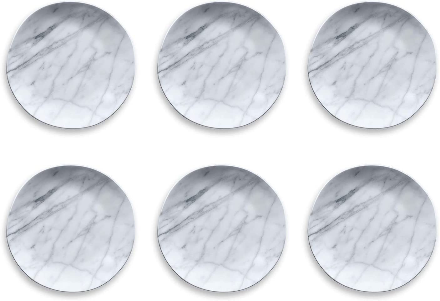 "PON1105TDCM - Set of 6 - Carrara Marble - Melamine Dinner Plate - 10.5"" by TarHong"