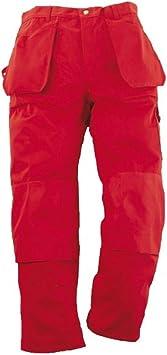 TALLA 26 EU. Pantalones de trabajo multifunción, color rojo, C148