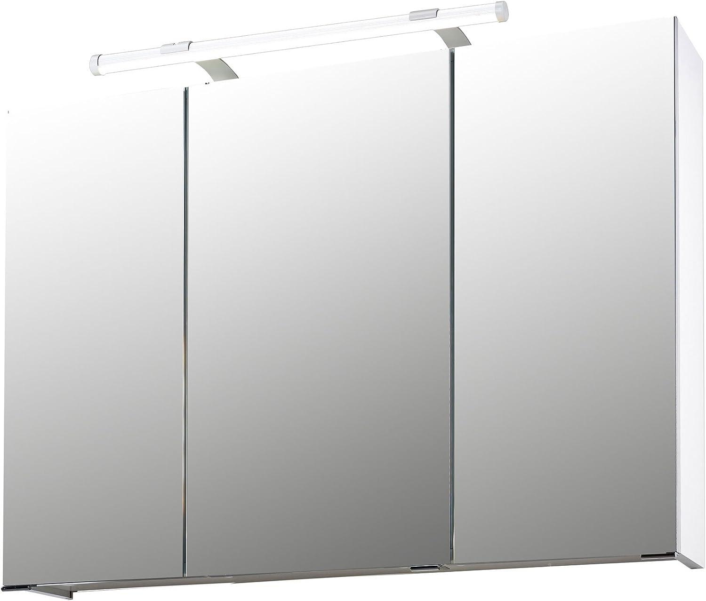 H/ängeschrank wei/ß Badspiegel LED-Beleuchtung lifestyle4living Spiegelschrank Badezimmerschrank Badezimmerspiegel Hochglanz modern Steckdose