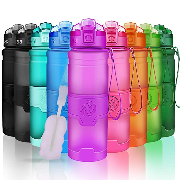 ZORRI Sports Water Bottle, 400/500/700ml/1L, BPA Free Leak Proof Tritan Lightweight Bottles for Outdoors,Camping,Cycling,Fitness,Gym,Yoga- Kids/Adults Drink Bottles with Filter, Lockable Pop Open Lid