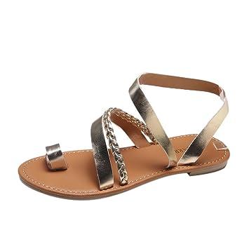Women Wedge Summer Sandals Flip-flop Shoes Strappy Comfort Heels Beige Casual