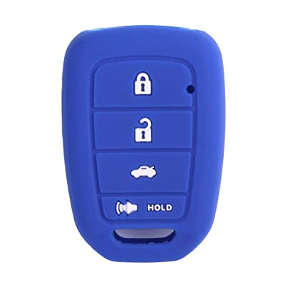 XUHANG Sillicone key fob Skin key Cover Remote Case Protector Shell for Honda Accord sports LX Civic HR-V CR-V 4 button blue: Automotive