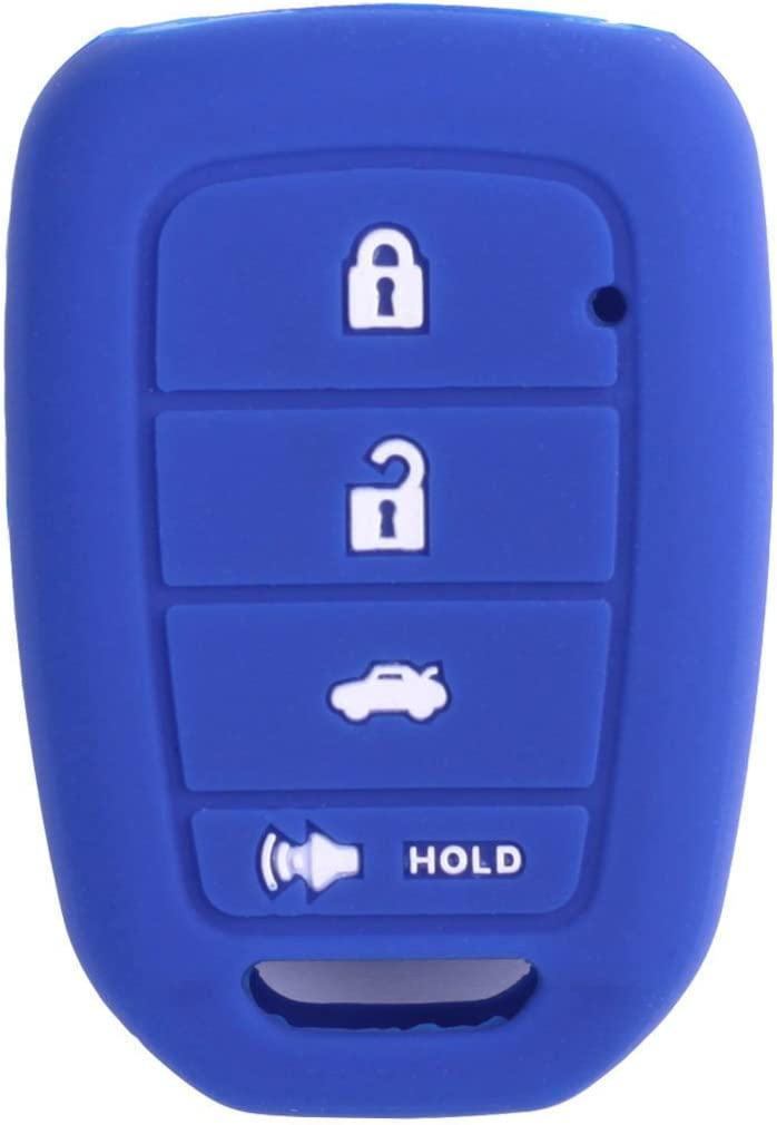 XUHANG Sillicone key fob Skin key Cover Remote Case Protector Shell for Honda Accord sports LX Civic HR-V CR-V 4 button blue