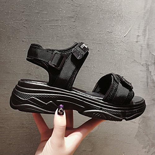SOHOEOS sandalias de punta abierta zapatos de plataforma grueso mujer verano nueva estudiante de moda velcro zapatos romanos deportes al aire libre ligero informal de secado rápido negro