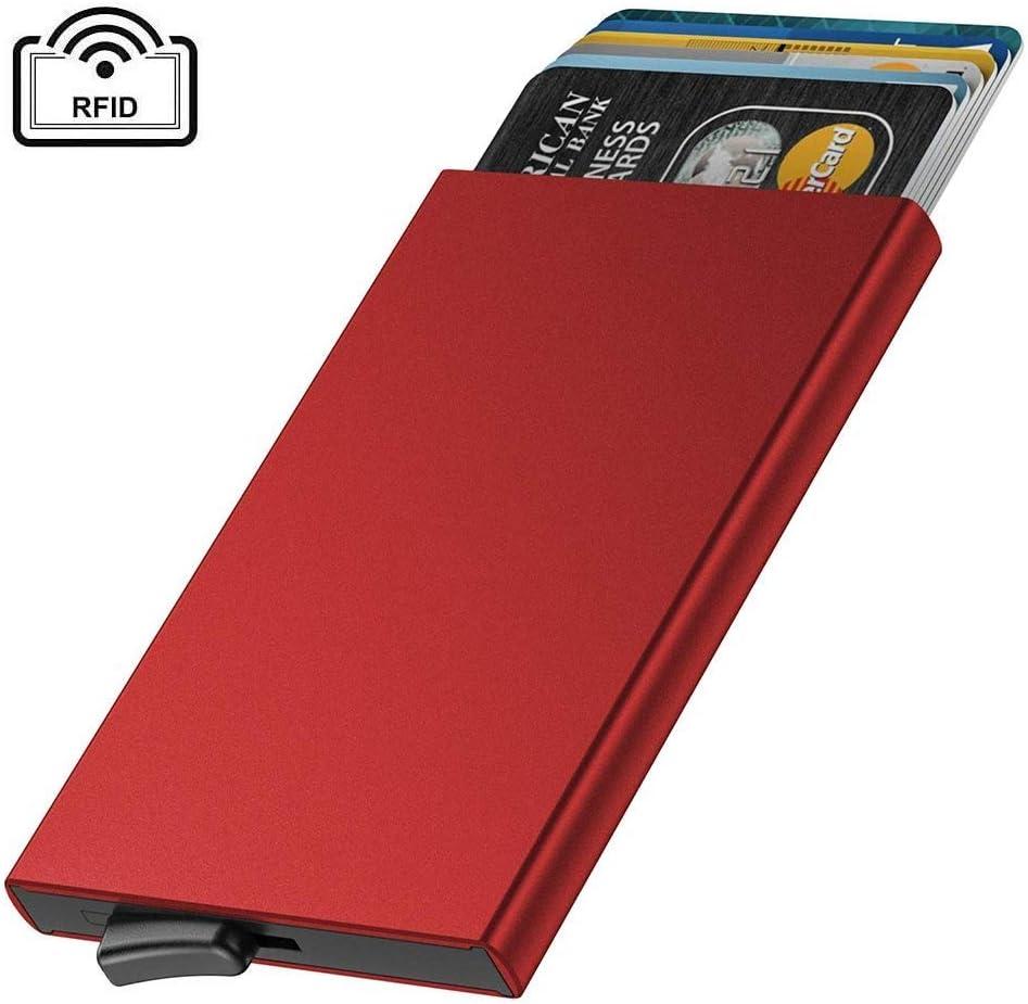 Soporte de Tarjeta de Crédito de Metal, Caja de Tarjeta de Aluminio Delgado con Bloqueo RFID, Diseño Minimalista de Monedero de Tarjeta Minimalista Anti Escaneado Sostiene 4-6 Tarjetas(Rojo): Amazon.es: Equipaje