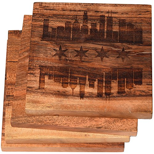 Chicago, Illinois Skyline Flag Drink Coasters (Multiple Designs) - Engraved Acacia Wood Design - Set of Four -