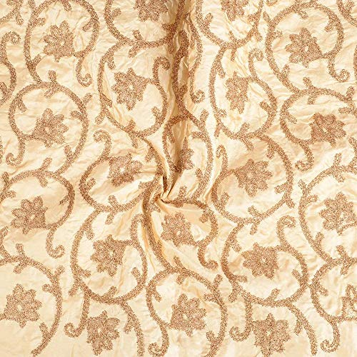 Shopolics Cream and Golden Paper Silk Embroidery Fabric-60602 for Wedding, Festival, Party Wear (1 Yard)