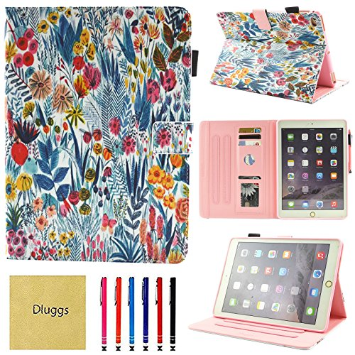 iPad Air Case, iPad Air 2 Case, iPad 9.7 2017/2018 Case, Dluggs Slim Fit PU Leather Folio Flip Stand Smart Cover with Auto Sleep/Wake Function for Apple iPad 9.7 inch Tablet, Garden
