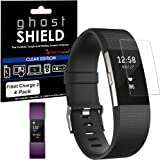 Fitbit Charge 2 Screen protectors, [Pack of 4] TECHGEAR® Fitbit Charge 2 [ghostSHIELD Edition] Genuine Reinforced Flexible TPU Screen Protector Guard Covers with FULL Screen Coverage - for Fitbit Charge 2 Heart Rate & Fitness Wristband