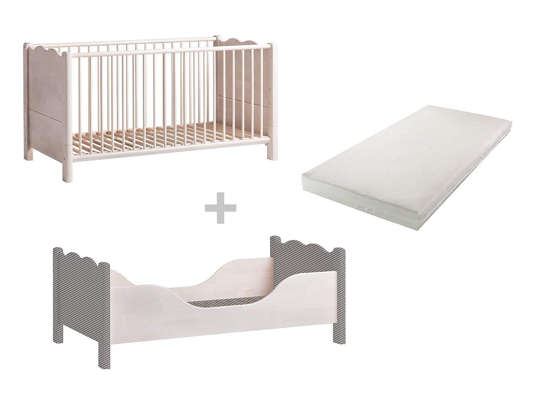BioKinder Feli Babybett Gitterbett Beistellbett mit Umbauseiten und bionik Matratze aus Massivholz Birke 70 x 140 cm weiß lasiert