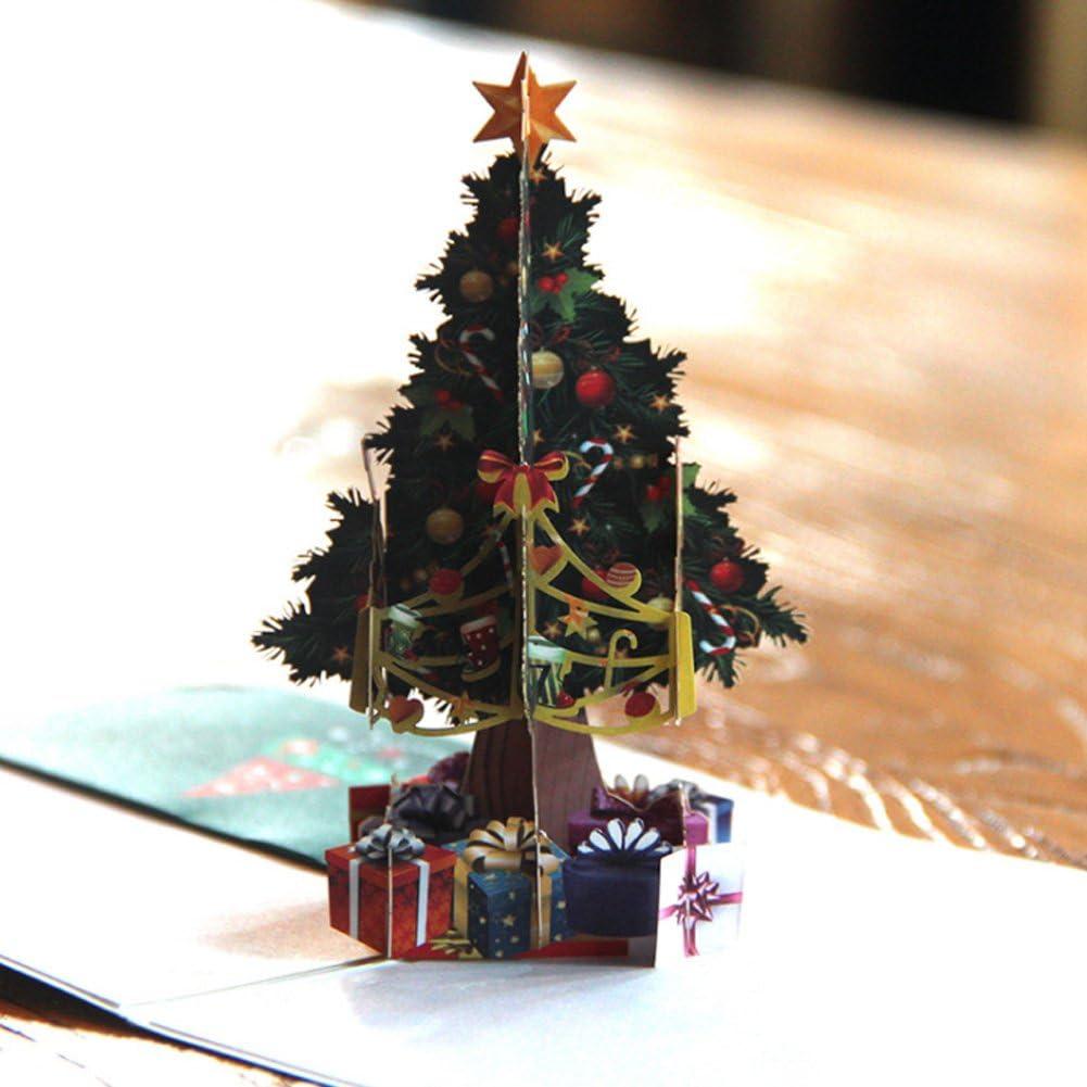 Regalo de Navidad 3d tarjetas de felicitación Papercraft 6 Pack Vacaciones Pop Up Tarjetas: Amazon.es: Oficina y papelería