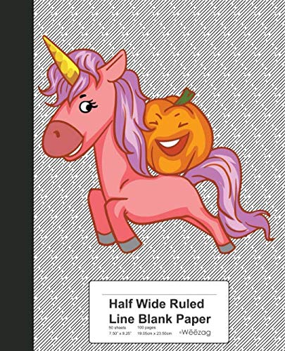 (Half Wide Ruled Line Blank Paper: Pumpkin Riding Unicorn Book (Weezag Half Wide Ruled Blank)