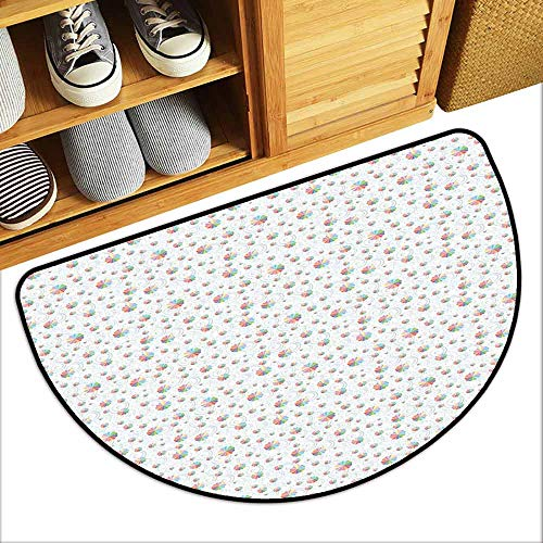 DILITECK Outdoor Doormat Umbrella Rainbow Colored Icons of Rainy Autumn Weather and Crease Marks of Falling Drops Country Home Decor W36 xL24 - Trojans Umbrella Usc