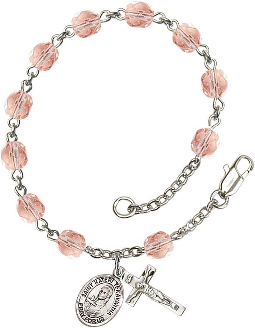 7 1//2 Inch January Birth Month Bead Rosary Bracelet with Saint Kateri Tekakwitha Petite Charm