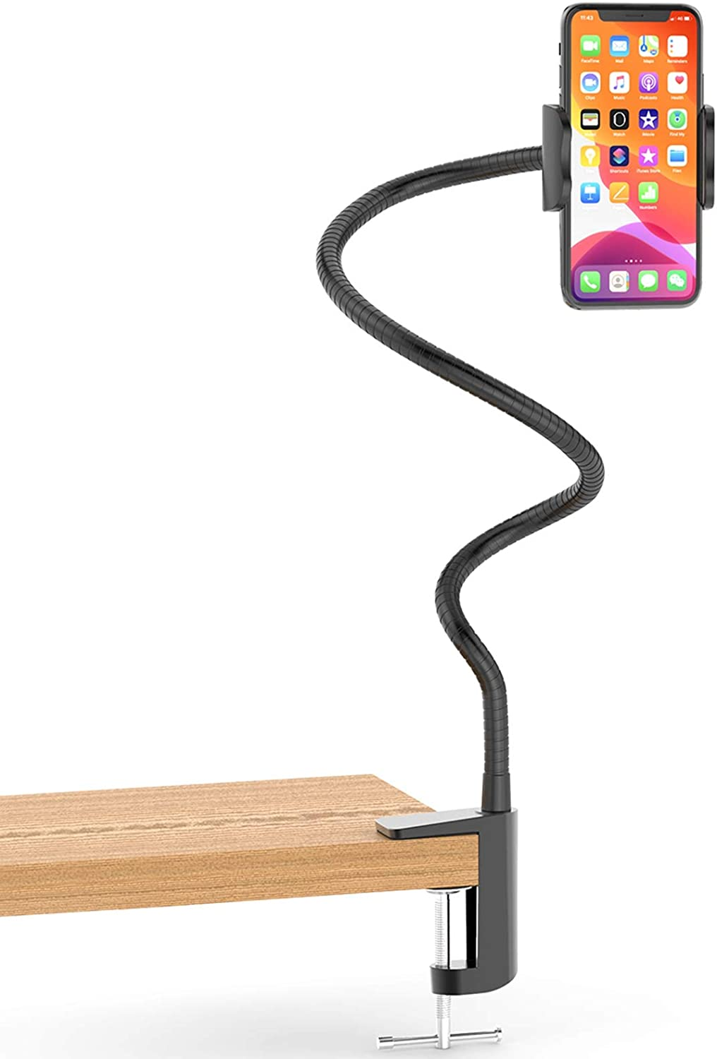 Stainless Steel Gooseneck Cell Phone Holder, Universal 360° Flexible Mobile Phone Stand   Lazy Arm Holder Clamp Mount Bracket Bed Dock Compatible with iPhone 12/11 Pro Max Xs S20 S10 Note 20 Note 10