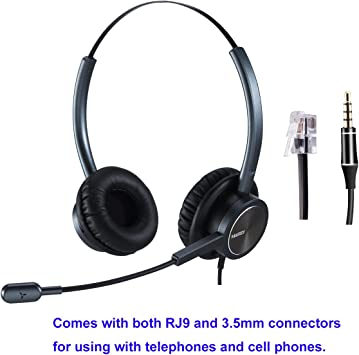 Amazon Com Rj9 Cisco Headset For Telephone With Noise Cancelling Microphone Including 3 5mm Connector For Cell Phone Iphone Samsung Compatible With Cisco Phone 7841 7942g 8841 7931g 7940 7941g 7945g 7960 7961 Electronics