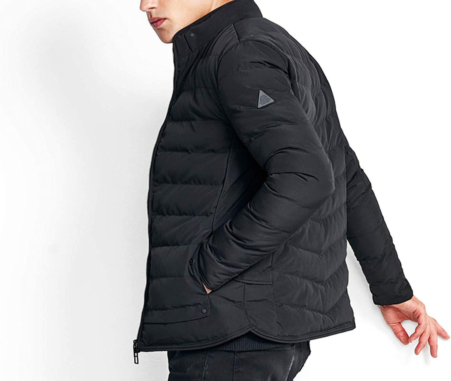 Mens Jackets Polyester Jackets and Coats Thick Warm Casual Handsome Young Men Parkas 89833,Black,L