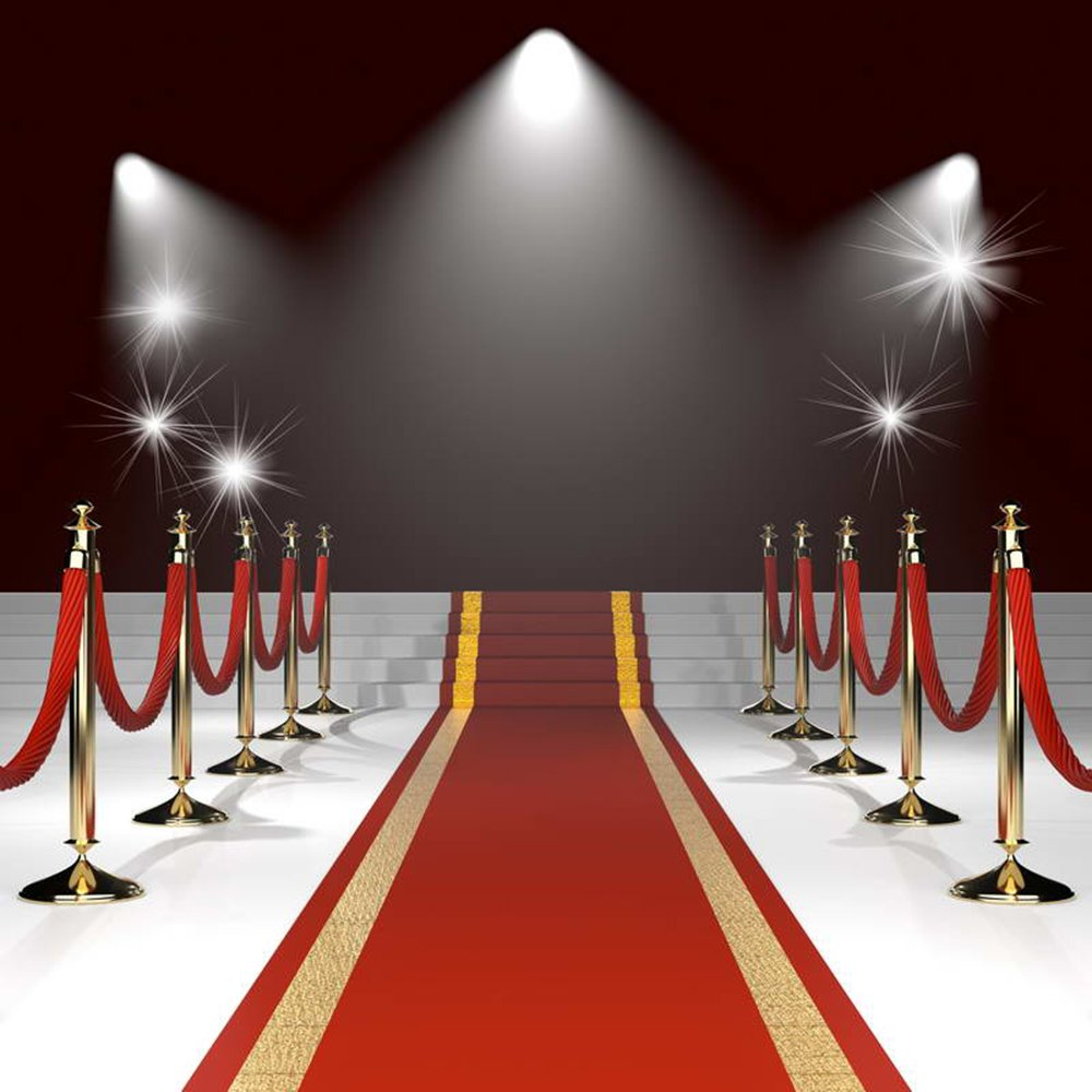 8x8FT Red Carpet Backdrop Photography Props Wedding Photo Backdrop Hollywood Photography Backgrounds Lighting Computer Printed Photo Backgrounds M1770 by Lyneshop (Image #2)