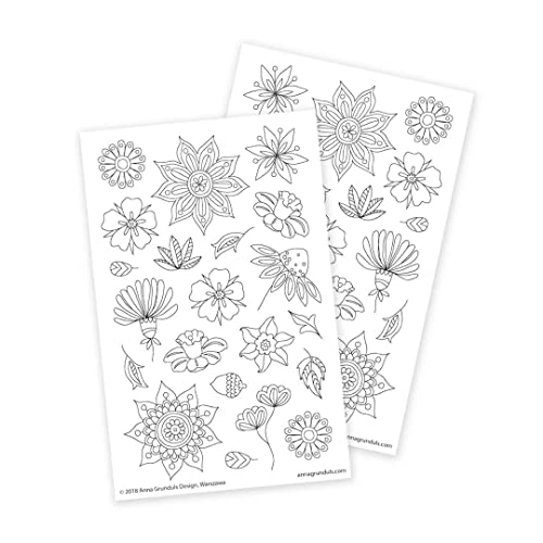 Amazon.com: Flower Stickers For Adults, Flower Power Stickers, Color Your  Own Stickers, 2 Sheets: Handmade