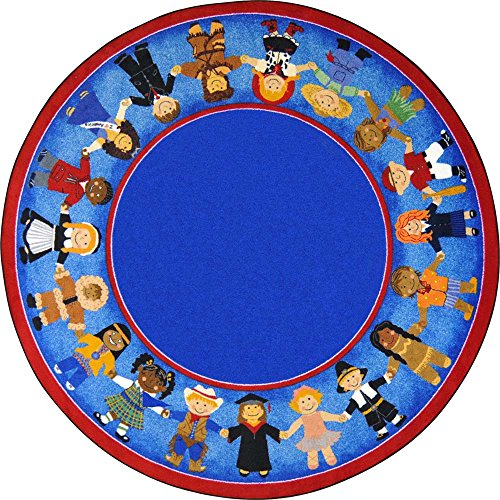 Joy Carpets Kid Essentials Early Childhood Round Children of Many Cultures Rug, Multicolored, 5'4'' by Joy Carpets